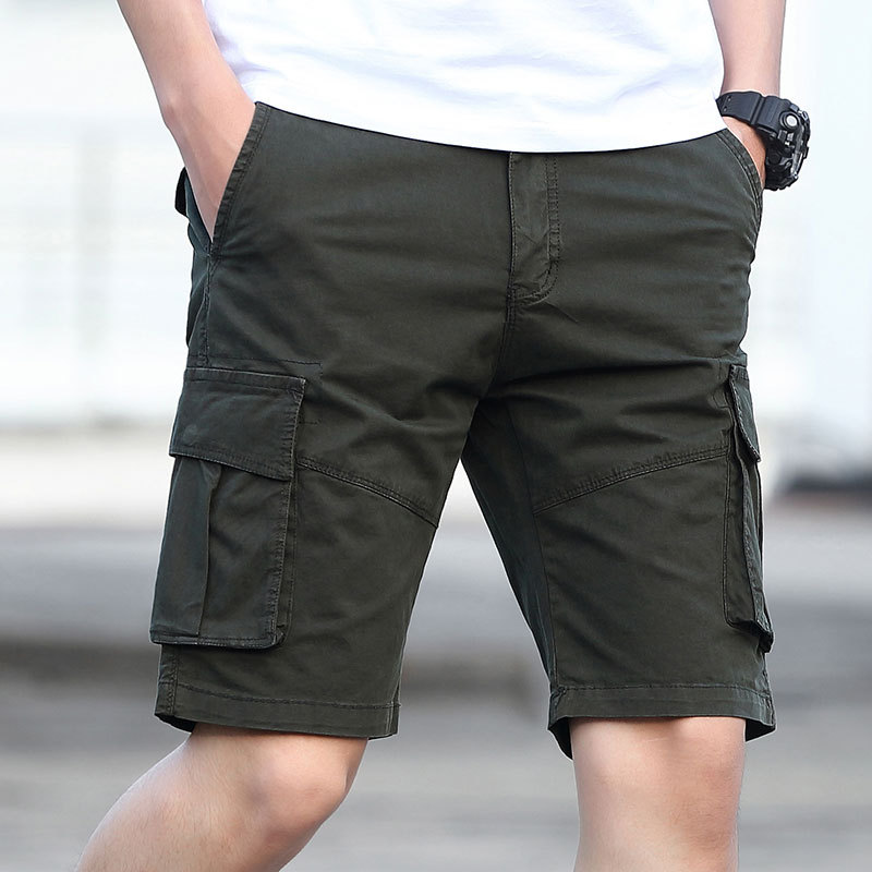 New Style Summer Korean-style Trend Shorts Youth Solid Color Casual Shorts Men's Middle Pants Pure Cotton Multi-pockets Bib Over