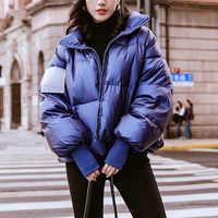 Brillante delle donne Impermeabile Giacca Parka Inverno 2019 Antivento Caldo Femminile Giubbotti Imbottito Imbottiture Parka di Modo casual Delle Donne del Cappotto