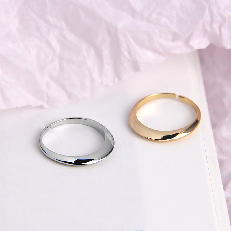Silvology 925 Sterling Silver Cone Shape Circle Rings Irregular Design Simple Mori Chic Rings For Women Collocation Jewelry Gift