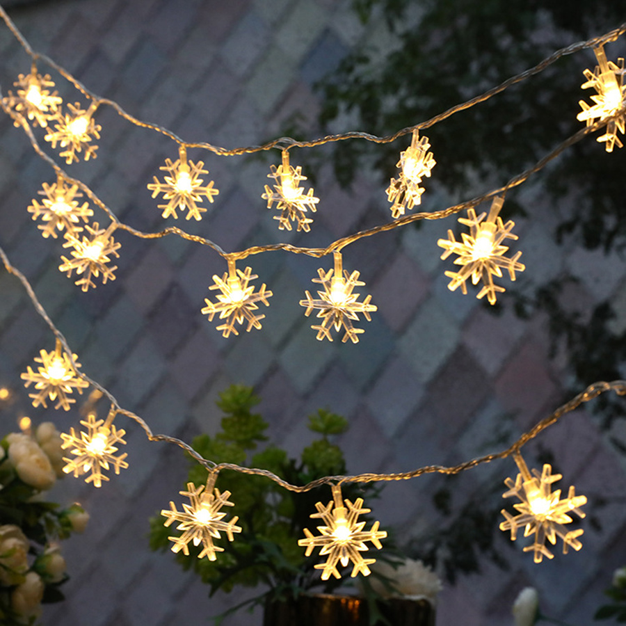 Thrisdar 3M 20 LED Christmas Snowflake String Light Battery Operated Bedroom Holiday Wedding Snowflakes Fairy Garland Light
