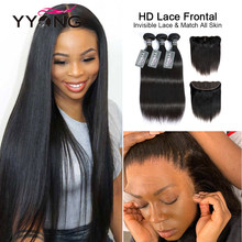 YYong 26in HD Transparent 13x4 Lace Frontal With Bundles Brazilian Straight Remy Human Hair Bundles With Ear To Ear Lace Closure
