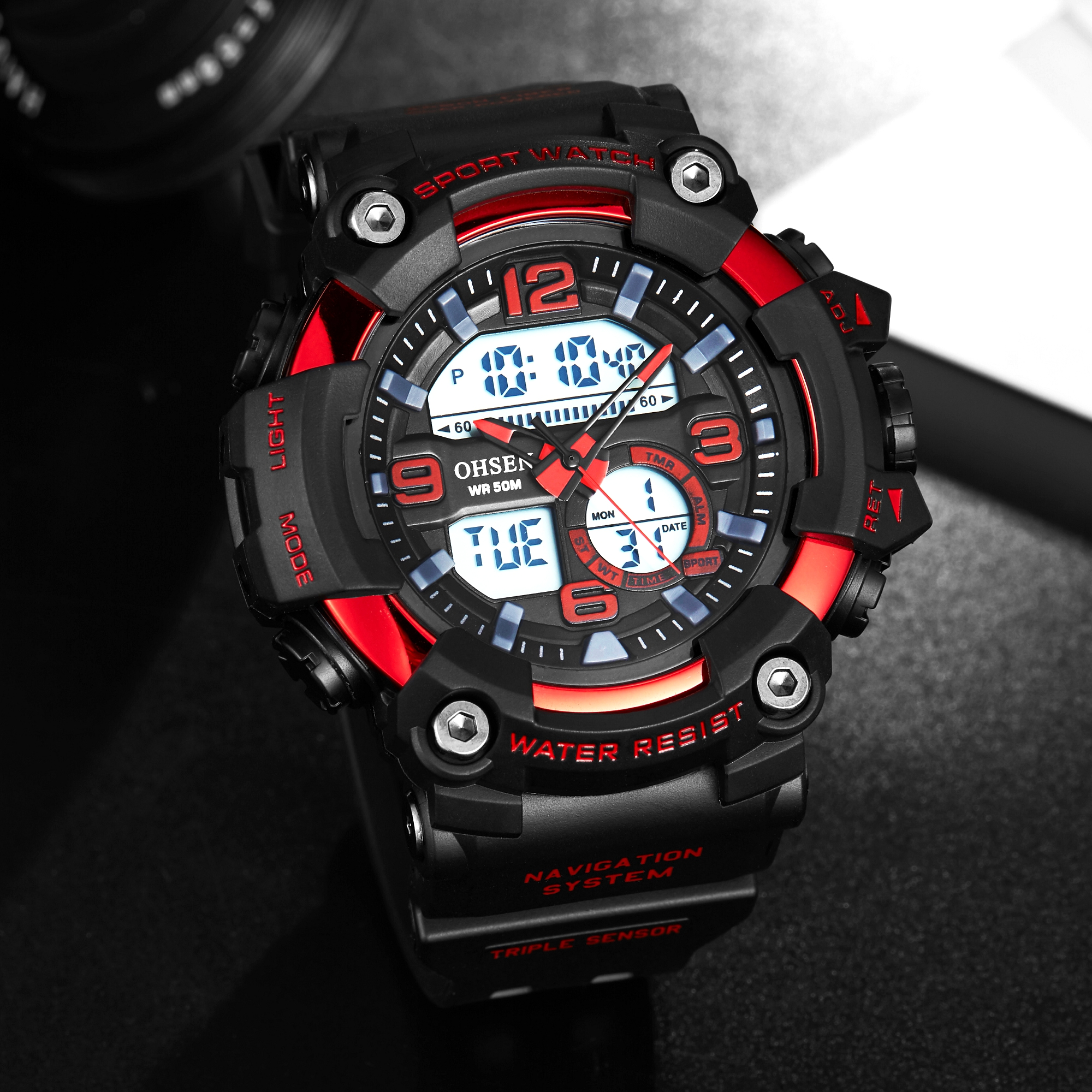 Fashion Men Quartz Sports Watches Stopwatch Man Waterproof LED Digital Watch Red Fashion Silicone Clock Gifts Relogio Masculino