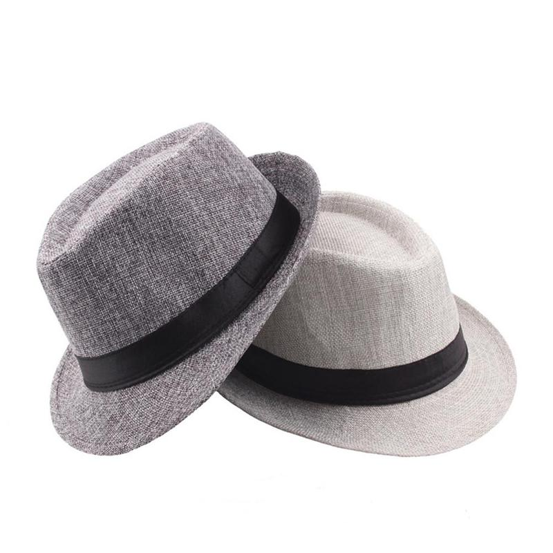 Jazz Hat Fedora Curling Grosgrain-Belt Vintage Men's Straw-Hat With Man Outdoor Old Unisex