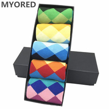 MYORED 5 pair/lot Men's Argyle Colorful Socks cotton colorful wedding gift Socks Rhombus socks funny for happy bright party sock цены