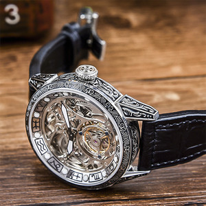 Image 4 - Classical Carved Large Dial Mens mechanical Wrist watch Tourbillon movement 50m Fashion Men Skeleton Tourbillon Watches AOHAOHUA