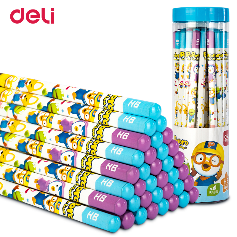 Deli Pororo <font><b>HB</b></font> <font><b>Pencil</b></font> Elementary School Children's Safety Writing Sketch Art Drawing Pen with erasers image