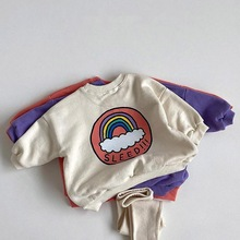 Children Hoodie Sweatshirt Boys Sweatshirt 2021 Spring Kids Sweatshirts Tops Long Sleeve T-shirt Boys Girls Baby Rainbow Clothes