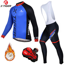 X-Tiger Cycling Jerseys Set Thermal Fleece Long Sleeve Coat Jacket Cycling Clothing 5D Gel Padded Bib Pants Winter Cycling Suit