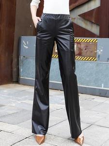 Trousers Pantalon Femme Genuine-Leather Straight-Pants Elastic-Waist Office-Style Black