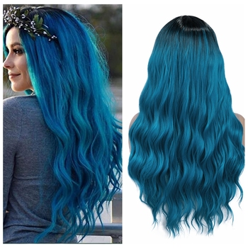 Wignee Long Wavy Blue Fiber Synthetic Wigs  Middle Part Heat Resistant for Women Natural Hair Daily/Party/Cosplay Party - discount item  51% OFF Synthetic Hair
