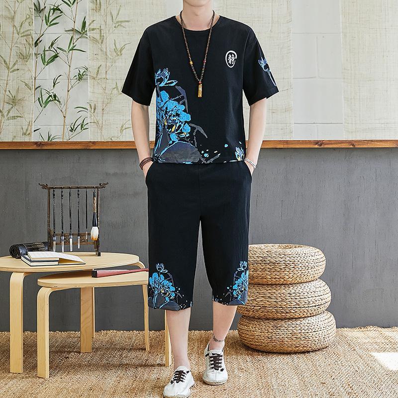 Mens Clothes Leisure Suit 2020 Summer Chinese Style Linen T-shirt + Pants Suit Men's Tracksuit Print Suit Fashion Breathable Men