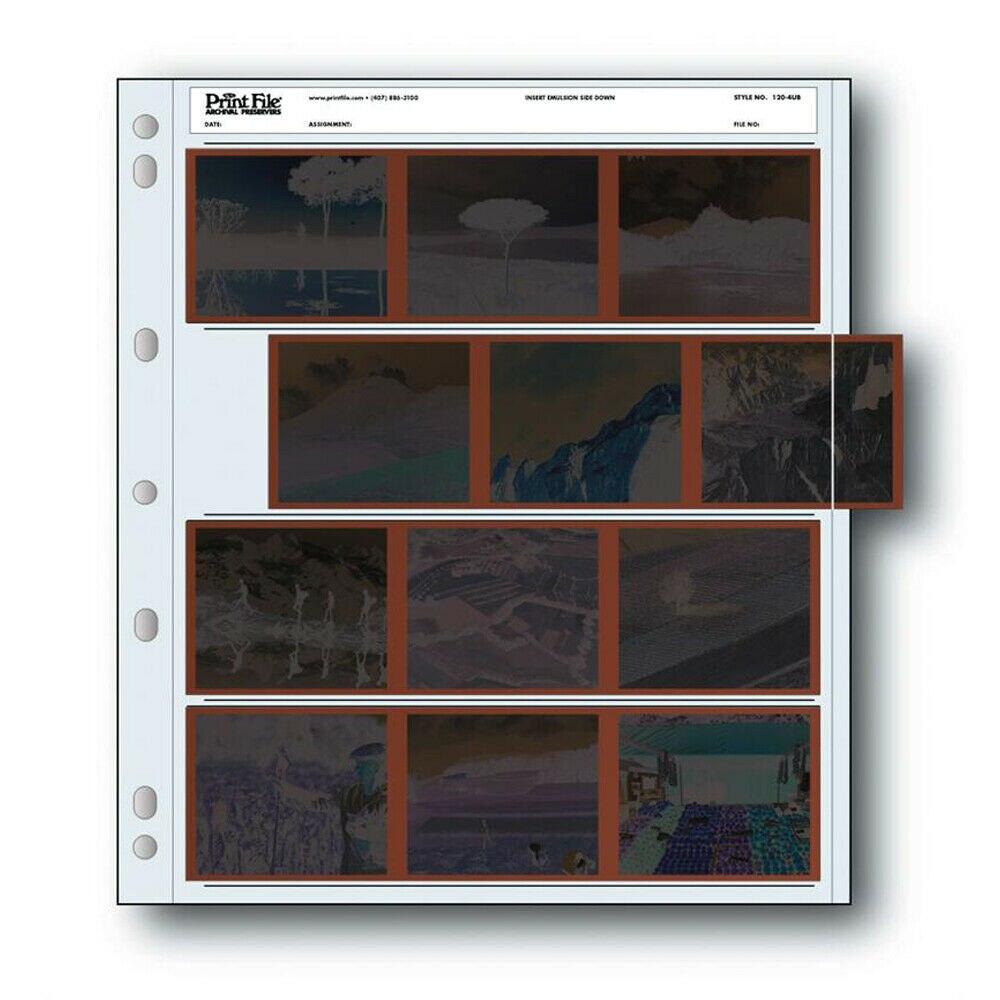 25x 6x7 120-4UB Arquivamento Arquivo de Impressão 120 Páginas de Negativos de Filmes Mangas Preservadores