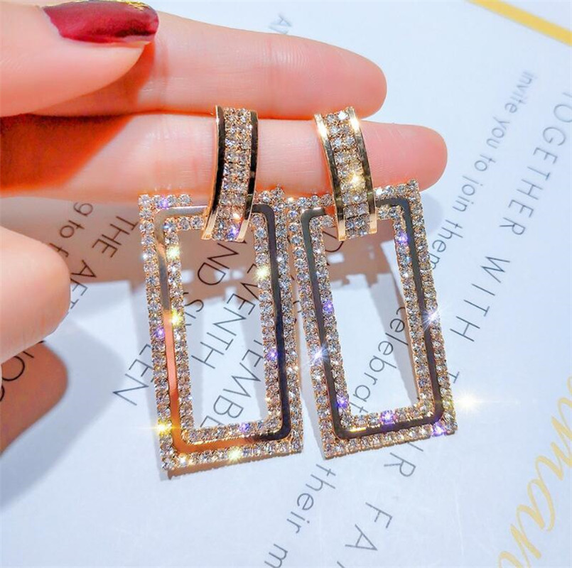 New Hot Fashion Brand Jewery Exaggerated Geometric Rectangle With Crystal Earrings For Women Shiny Side Style Earring For Gift