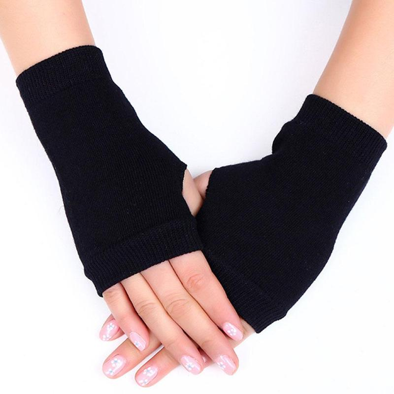 1pair Combed Cotton Finger Mitt Fingerless Gloves Knitted Half Finger Winter Gloves Hand Wrist Warmer Mittens Women Accessories
