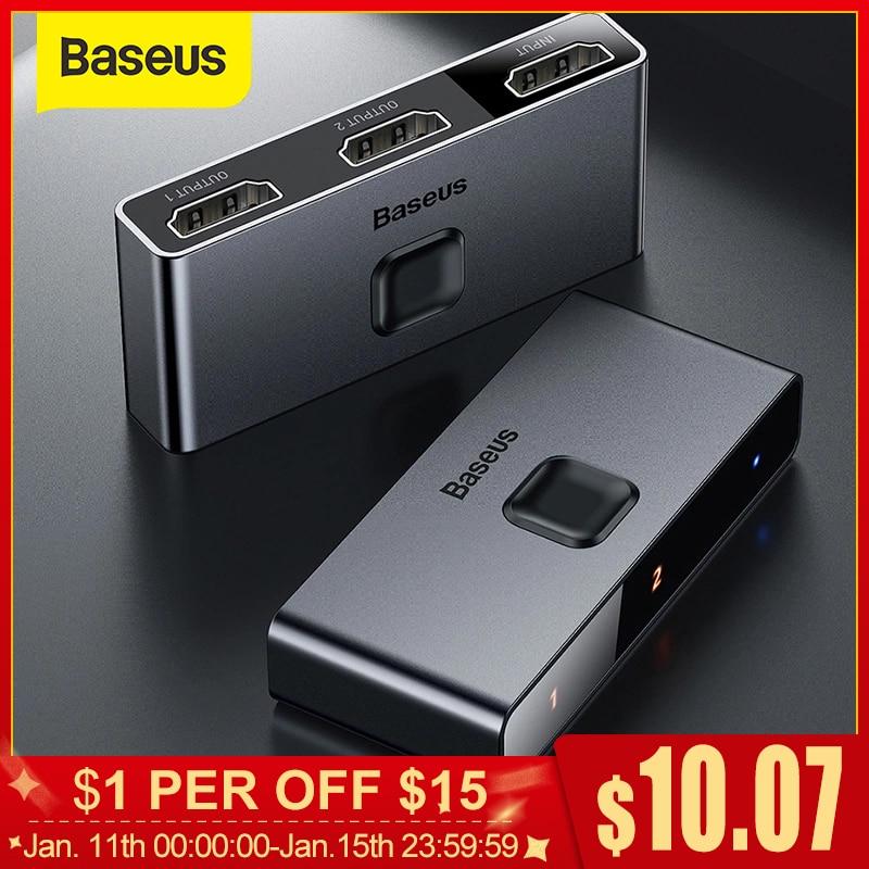 Baseus HDMI Switch 4K Adaptador HDMI Switch HDMI Switch 2x1 para PS4/3 TV Box Switch HDMI Bi-Direção Interruptor Jogo TV HDMI Switcher