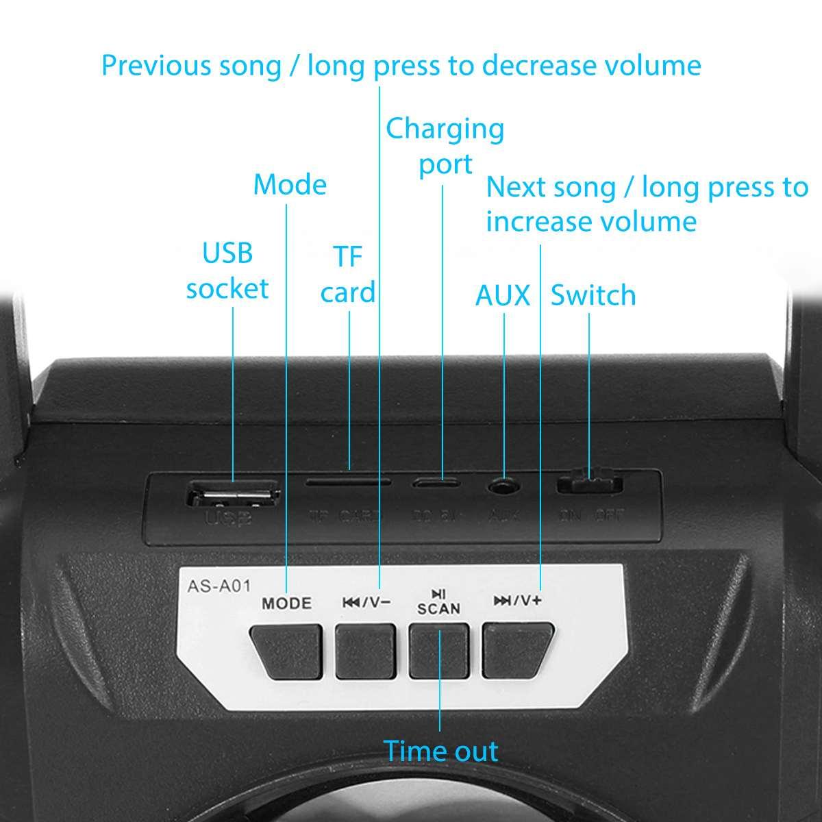 Tragbare bluetooth Lautsprecher Wasserdichte Drahtlose Musik Lautsprecher Stereo Bass Subwoofer Sound System Im Freien Unterstützung FM TF