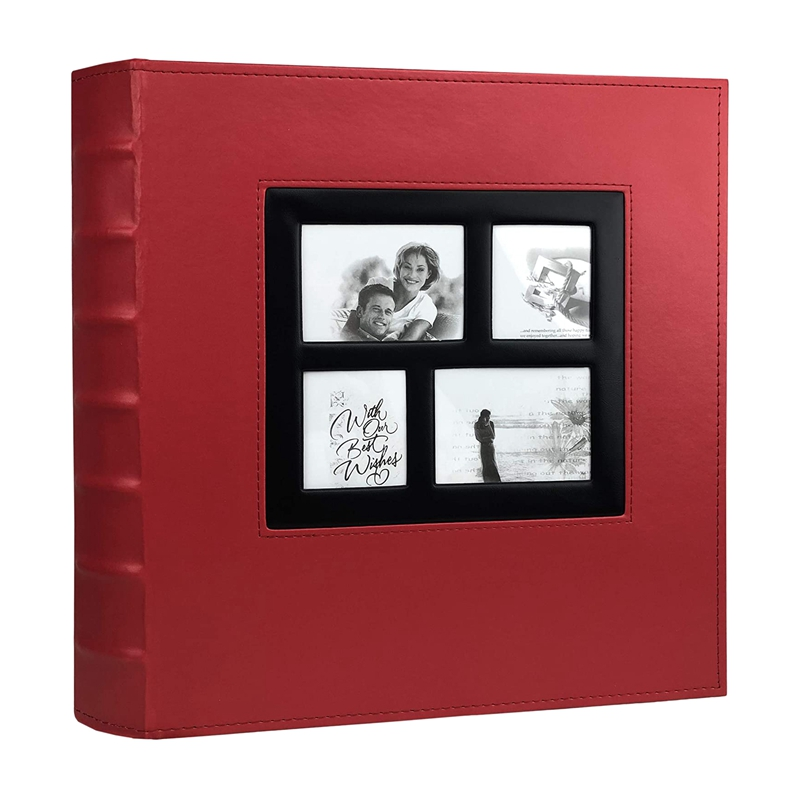 Photo Album Holds 4X6 400 Photos Pages Large Capacity Leather Cover Binder Wedding Family Baby Photo Albums Book (Red) image