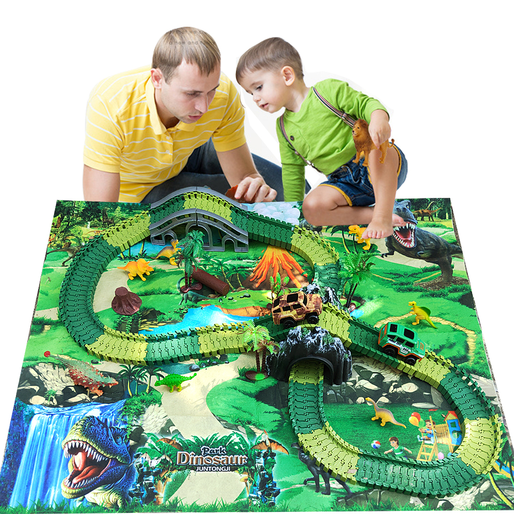 Children\'s electric Dinosaur toys Railway Magical Racing Track toy set DIY tracks Car toys Race tracks Gift Children Toy for boy