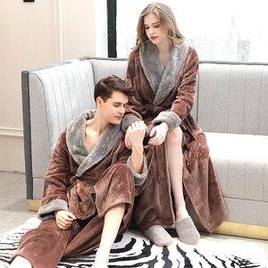 Image 2 - ผู้ชายฤดูหนาว Plus ขนาดยาว Cozy Flannel เสื้อคลุมอาบน้ำ Kimono Warm Coral Fleece Bath Robe ขนสัตว์ Robes Dressing Gown ผู้หญิงชุดนอน