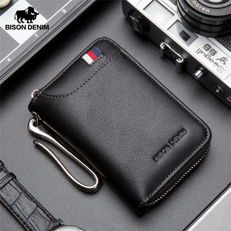 BISON DENIM Genuine Leather Key Wallet Male Card Keychain Cover Zipper Card Holder Wallet Key Organizer Large Capacity N9462