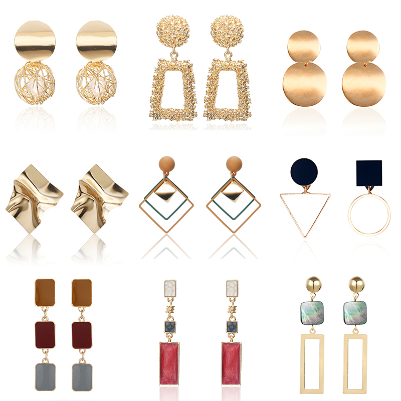 HOT 30 Style Korea Handmade Wooden Drop Earrings New Fashion Geometric Long Acrylic Metal Earrings Modern Jewelry