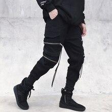 April MOMO мужские повседневные стильные брюки-карго на молнии с лентой, брюки-карго, Клубная одежда, уличные брюки, уличная мужская одежда