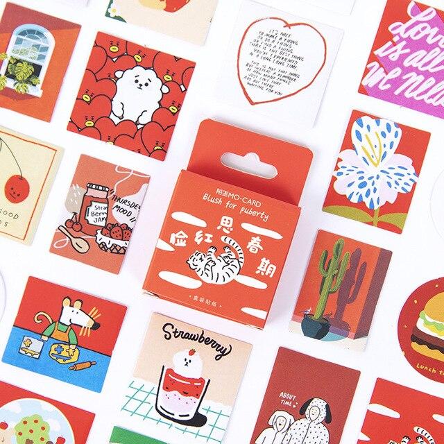 46 Pcs/box Blush For Puberty Bullet Journal Decorative Stationery Mini Stickers Set Scrapbooking DIY Diary Album Stick Lable