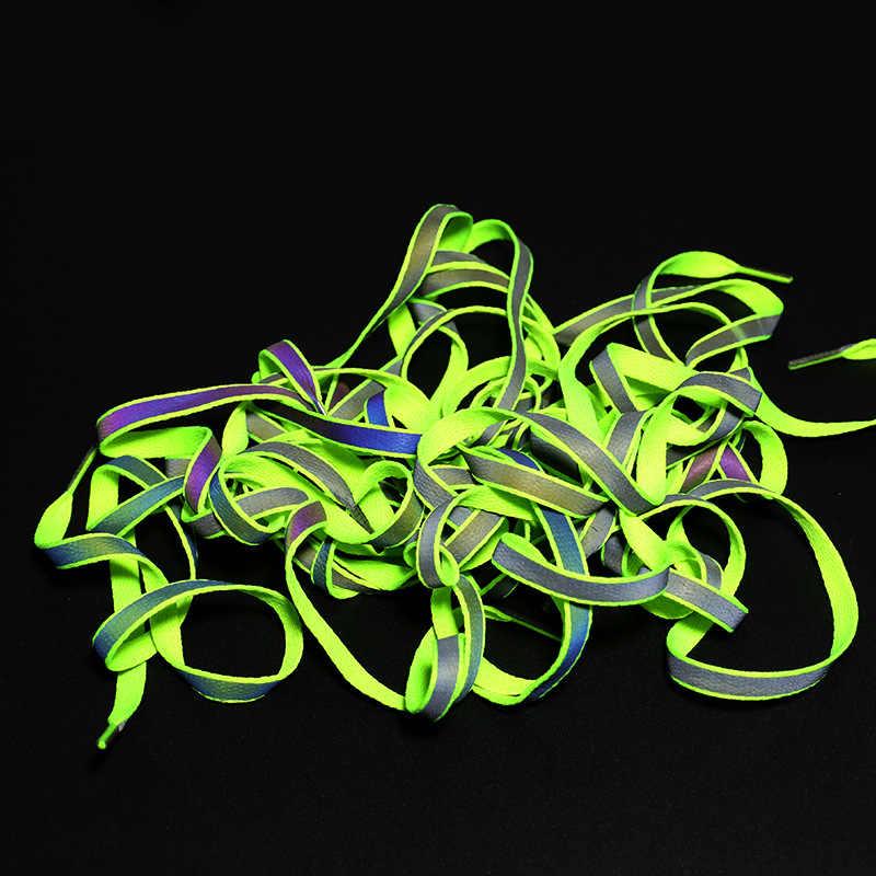 1 para 120cm płaskie odblaskowe sznurowadła bezpieczeństwa Luminous świecące sznurowadła Unisex dla sportu koszykówka brezentowych butów
