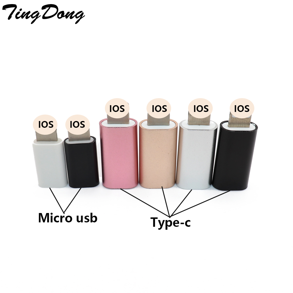 TYPE C Or Micro USB Cable To 8 Pin Adapter For IPhone 8 7 6 6S 5 5S 5C SE X For Ipad Converter Charger Female Adapter For IPhone