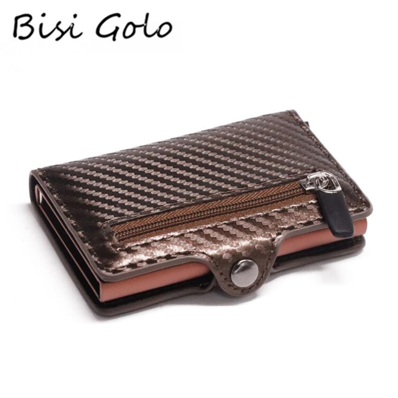 Bisi Goro Button Coin Wallet Slim Wallet RFID Metal Card Holder Protection Fashion Carbon Fiber Wallet Men Anti-theft Card Case