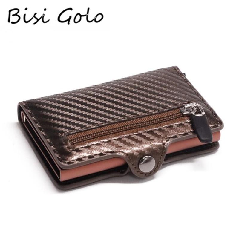 Bisi Goro Button Coin Wallet Slim Wallet RFID Metal Card Holder Protection Fashion Carbon Fiber Wallet Men Anti-theft Card Case