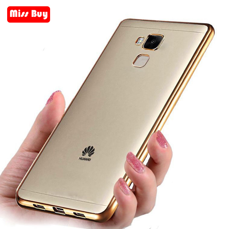 Ultra Thin <font><b>Gold</b></font> Plating Crystal Clear Case For Huawei <font><b>honor</b></font> 5C V8 8 6X 7X 5A 8X P30 Pro Y9 2019 Mate <font><b>9</b></font> 10 <font><b>Lite</b></font> 20 30 Pro Coque image