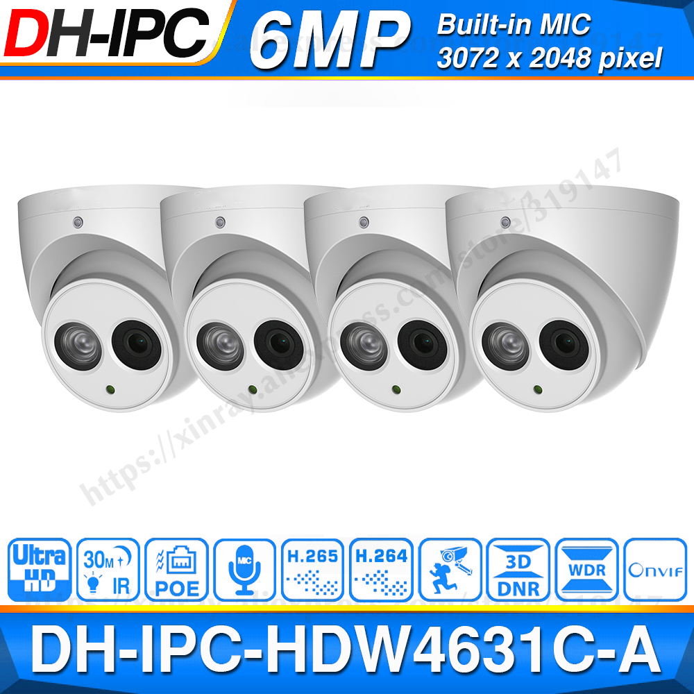 Wholesale DH 6MP IP Camera IPC-HDW4631C-A Upgrade From IPC-HDW4431C-A POE Mini Dome Cam Built-in MIC CCTV Camera Metal 4pcs/lot