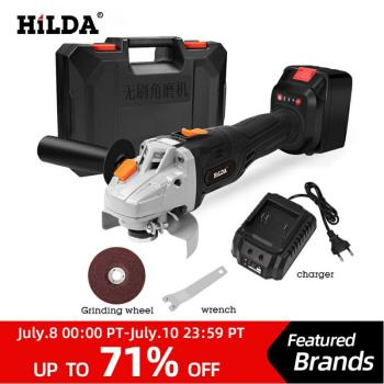 цена на HILDA 21V Angle Grinder Cordless Lithium-ion Grinding machine Brushless Cordless Electric grinder Angle  Power Tools