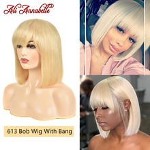 Bob Wig Human-Hair-Wigs Ali-Annabelle Full-Machine Bang Blonde 613-Color Straight Brazilian
