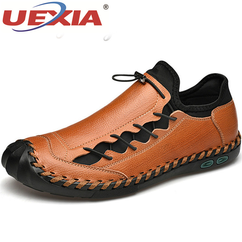 UEXIA Men Leather Casual Shoes Comfortable Loafers Men Shoes Quality Split Leather Handmade Flats Hot Sale Moccasins Footwear