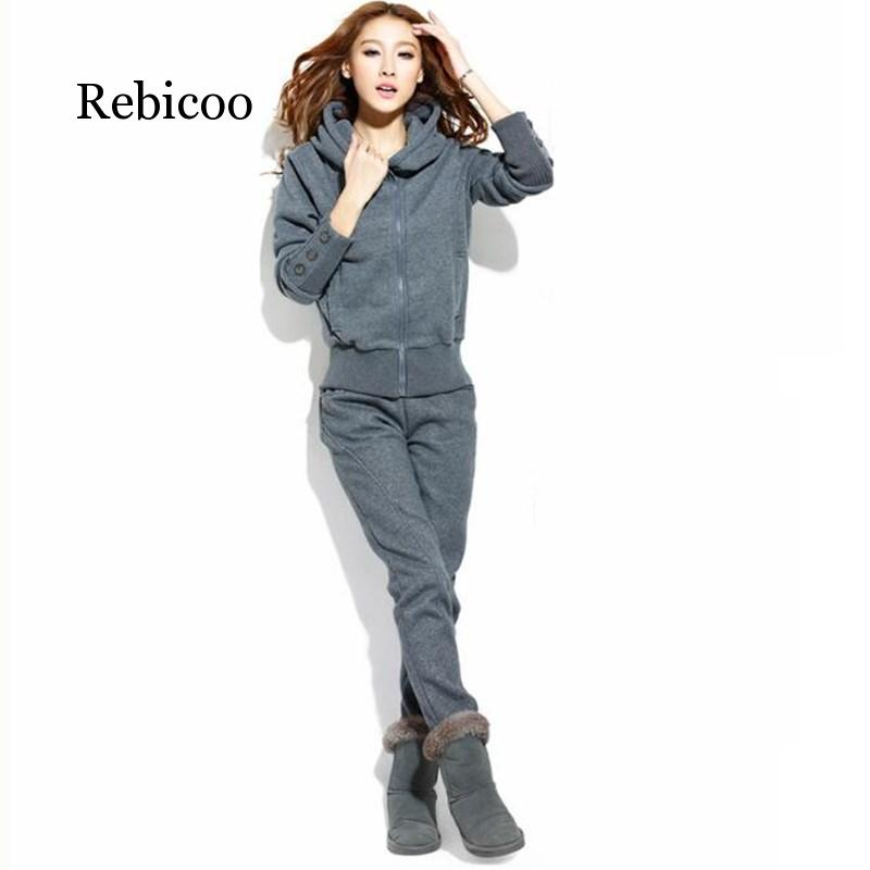 2019 Sports Suit Ladies Warm Gray Sportswear With Hat Sweater Two-piece Jacket And Pants Suit Women