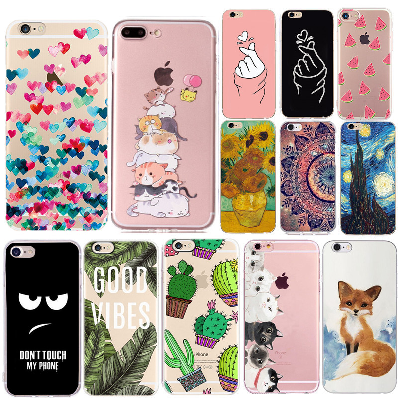 Soft Silicone Phone Case For Apple iPhone 8 7 Plus Mobile Cover For Coque iPhone 6