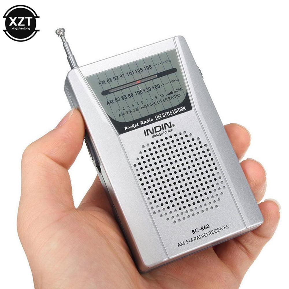 BC-R60 Radio de poche antenne télescopique Mini AM/FM 2 bandes Radio monde récepteur avec haut-parleur 3.5mm écouteur prise Radio Portable