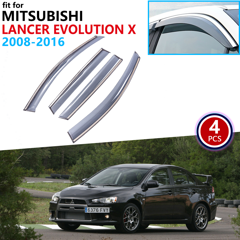 For Mitsubishi Lancer Evolution X 2008~2016 Window Visor Vent Awnings Rain Guard Deflector Cover Accessories 2009 2010 2011 2012