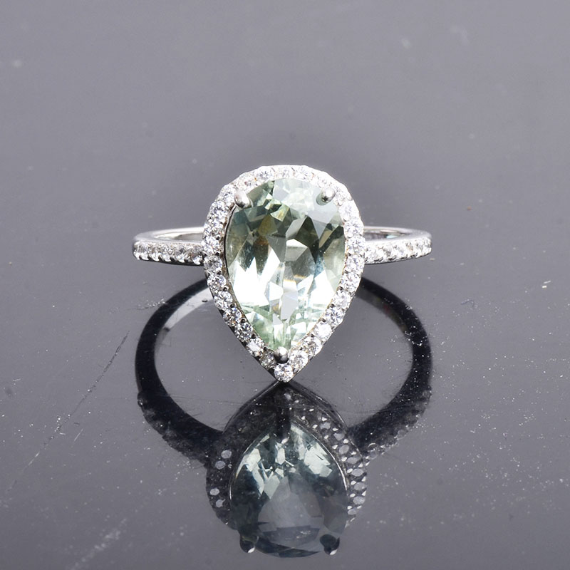 CSJ real natural green amethyst quartz Rings sterling  925 silver Water droplets  gemstone fine jewelry for women girl gift box