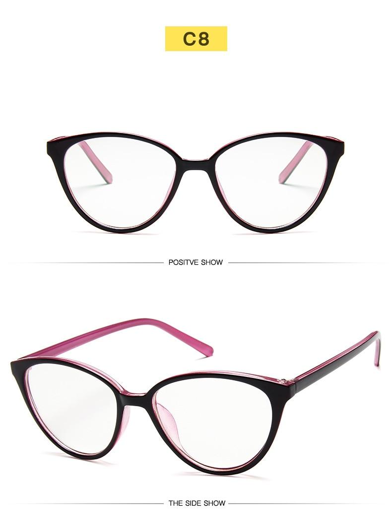 New Retro Cat Eye Women Glasses Frame Anti Blue Light Lady Eyeglasses Frame myopia Vintage Clear Glasses Optical Spectacle Frame (14)