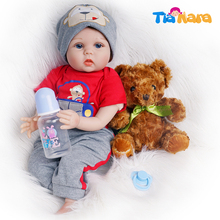 55cm Reborn Baby Doll Boy Silicone Vinyl Red Outfit with Toy Bear