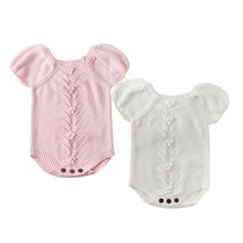 Newborn Baby Romper For Girls Knitted Puff Short Sleeves Children Jumpsuit Clothing Spring Autumn Toddler Onesie