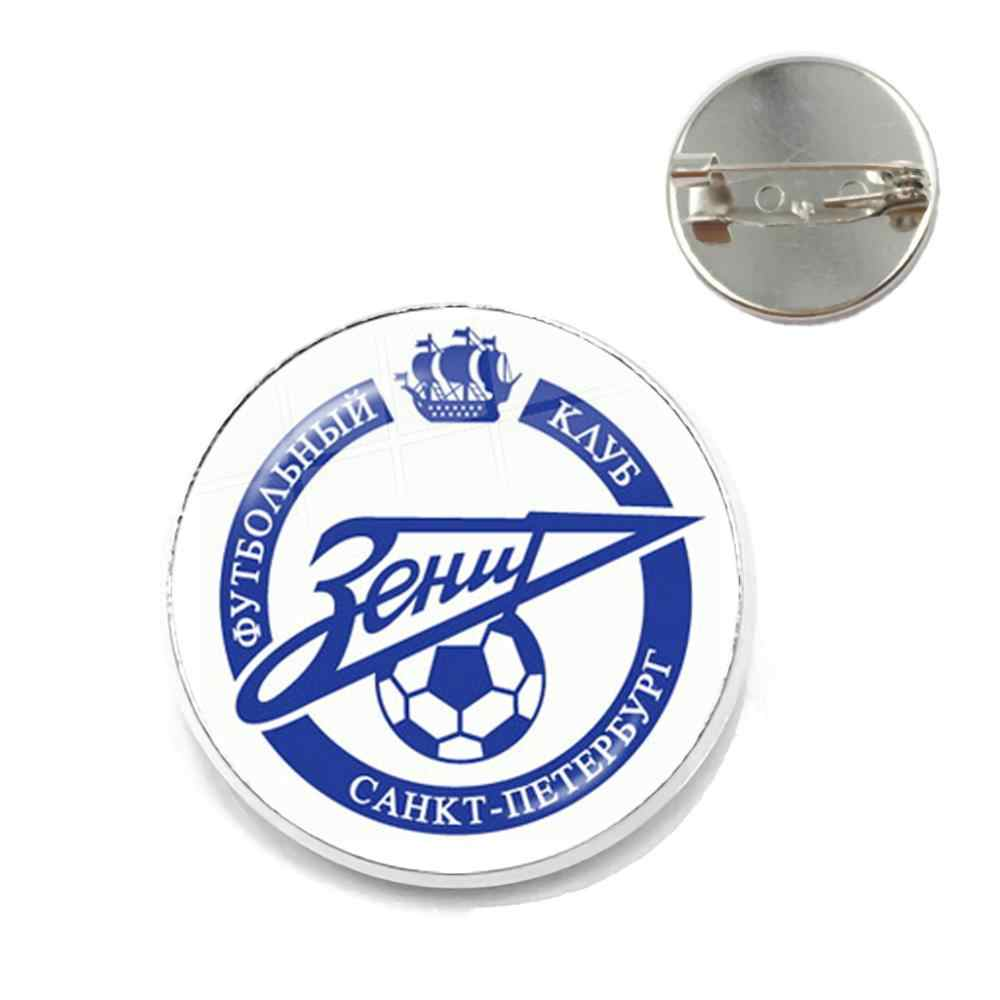 FC Zenit Saint Football Club 20mm cristal cabujón Collar pines ligas Logo Fútbol Club Metal broche para los Fans regalo