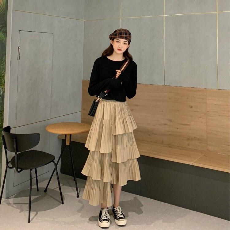 Hirigin 2019 New Girls Spring Summer Fashion High Elastic Waist Pleated Loose Irregular Cake Skirt