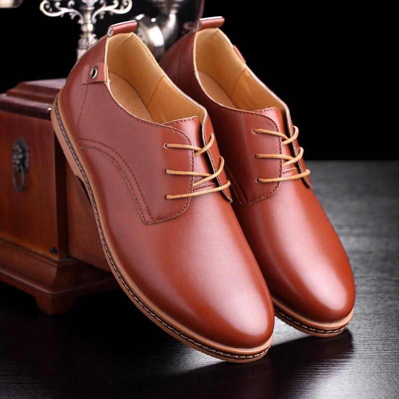Ayakk.'ten Erkek Rahat Ayakkabılar'de Ayakkabı Erkekler Siyah/kahverengi Artı Boyutu Erkek Ayakkabı 2019 PU Deri Erkek 39 S Ayakkabı Dantel up Mokasen EU38 47'da  Grup 1