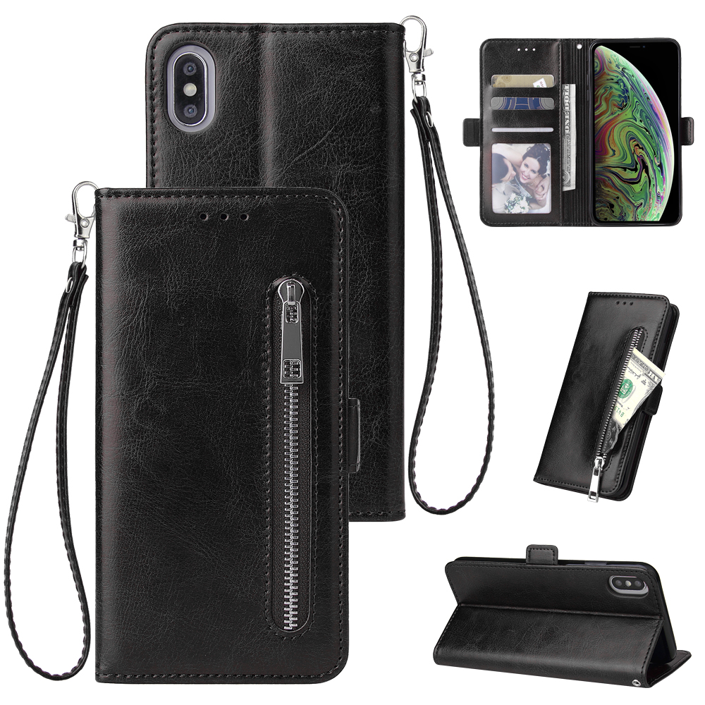 For <font><b>iPhone</b></font> X Xr Xs Max Zipper Pu Leather <font><b>Wallet</b></font> <font><b>Case</b></font> For <font><b>iPhone</b></font> 6s 6 7 <font><b>8</b></font> <font><b>Plus</b></font> 11 pro max Flip Cover Stand Hand Strap image