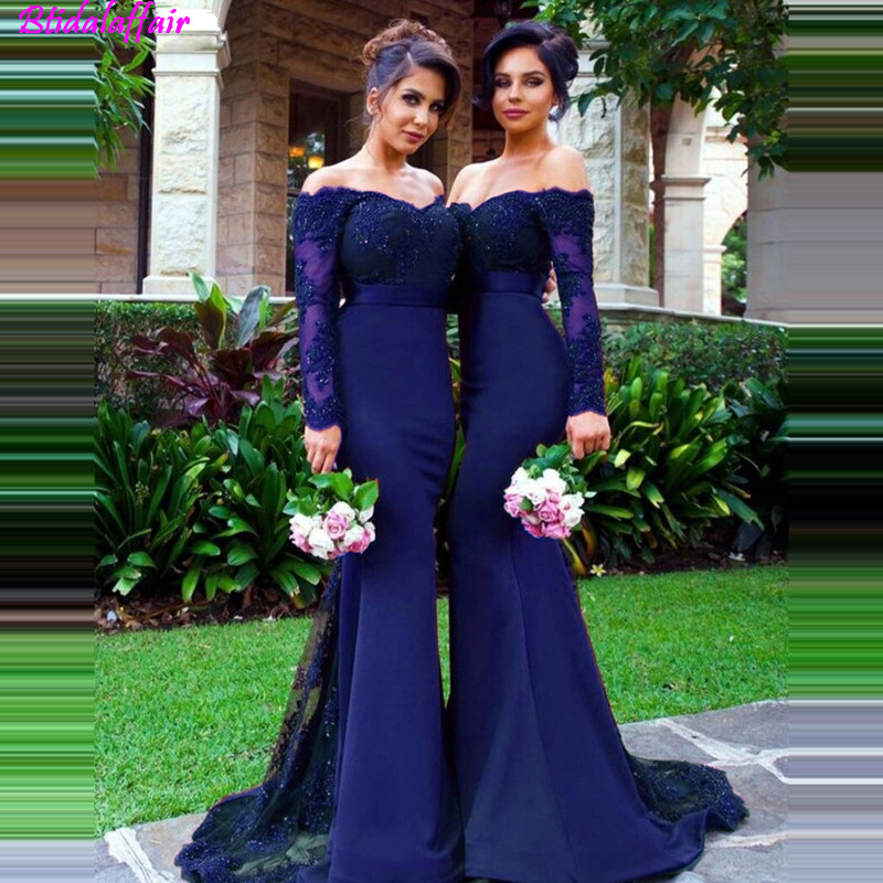 Blue Illusion Long Sleeves Mermaid   Bridesmaid     Dresses   2019 Lace Appliques Satin Maid Of Honor Gowns   Bridesmaid     Dress
