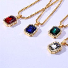 High Quality Hip hop Pendants Necklaces For Men Blue Red Rhinestone Jewelry Accessories Male